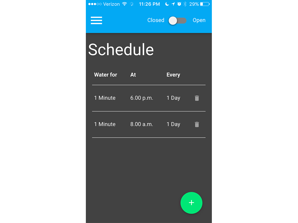 The main schedule screen on an iPhone 5s.