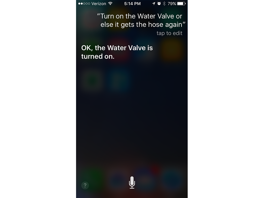 Asking Siri nicely to turn on the water valve